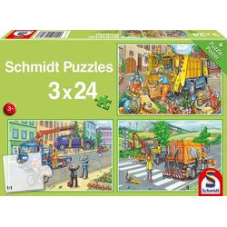 Schmidt 56357 - Müllwagen, Abschleppauto und Kehrmaschine,+ Puzzle-Poster, Kinderpuzzle, Puzzle,