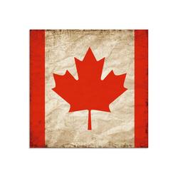 Artland Glasbild Schöne kanadische Fahne im Vintage-Look, Zeichen (1 Stück) 30 cm x 30 cm x 1,1 cm