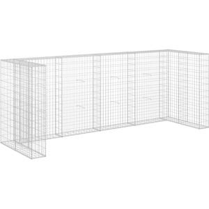 vidaXL Gabione Mülltonnenbox für 4 Mülltonne Gabionenwand Gabionen Mülltonnenverkleidung Müllbox Verzinkter Stahl 320x100x120cm Silbern