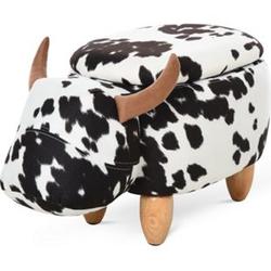 HOMCOM Kinderhocker im Kuh Design schwarz, weiß, natur 62 x 35 x 36 cm (LxBxH)   Tierhocker mit Stauraum Sitzhocker Kinder Hocker