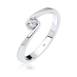 Diamore Diamantring Solitär Verlobung Diamant 0.03 ct. 925 Silber, Solitär-Ring 58