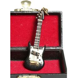 Ambiente Haus Dekofigur Schlüsselanhänger E-Gitarre schwarz 7cm (1 Stück)