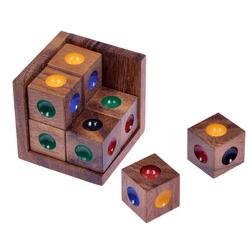 Logoplay Holzspiele Spiel, Crazy Six - 3D Puzzle - Farbenpuzzle - Denkspiel - Knobelspiel - Geduldspiel - Logikspiel im Holzrahmen Holzspielzeug