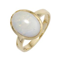 JOBO Goldring, 585 Gold mit Opal-Cabochon 56