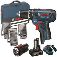 Bosch GSR 12V-15 Professional inkl. 1 x 2 Ah + 1 x 4 Ah + 39-tlg. Zubehör 0615990G6L