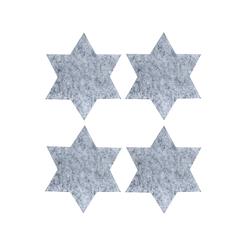 4 Filz Untersetzer Sterne Glasuntersetzer Weihnachtsdeko Adventsdeko - hellgrau