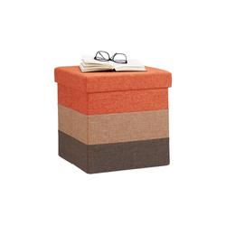 relaxdays Sitzhocker Gepolsterter Hocker mit bunten Streifen braun