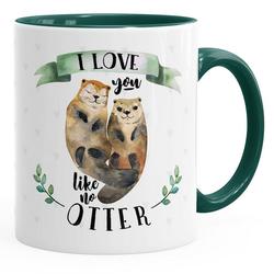 MoonWorks Tasse Kaffee-Tasse Otter Pärchen I love you like no otter Geschenk Liebe Spruch Kaffeetasse Teetasse Keramiktasse MoonWorks® grün