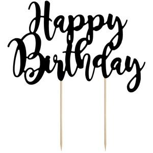 partydeco Tortenstecker, Cake Topper Happy Birthday 22.5cm, schwarz