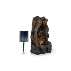 blumfeldt Gartenbrunnen Magic Tree Solarbrunnen 2,8 W Polyresin 5h Akku LEDs Holzoptik, 37 cm Breite