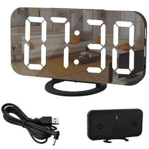 """Spiegel Wecker-Digitaler Wecker, große 6,5"""" LED-Anzeige mit Dimmer-Modus zur Helligkeitsmessung, einstellbare Helligkeit, 2 USB-Ladeanschlüsse für Schlafzimmer Wohnzimmer- Schwarz"""
