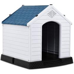 COSTWAY Hundehütte Hundehütte, Hundehütte Kunststoff Hundehaus Plastik für Garten, Drinnen und Draußen, Hundehöhle mit Erhöhtem Boden, Hundekisten blau und weiß 78.5 cm x 81.5 cm x 87.8 cm