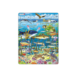 Larsen Puzzle Rahmen-Puzzle, 60 Teile, 36x28 cm, Meeresleben, Puzzleteile