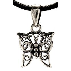 Kiss of Leather Kettenanhänger Zierlicher Schmetterlings Anhänger 925 Sterling Silber Schmetterling