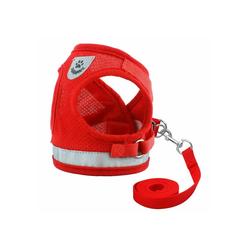 TOPMELON Hunde-Geschirr, Nylon, Hundegeschirr & Leinen Set, Atmungsaktive rot XS