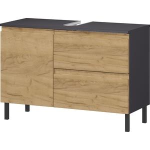 GERMANIA Waschbeckenunterschrank Scantic, Breite 80 cm, Badezimmerschrank, verstellbarer Einlegeboden, Türdämpfung, grifflose Optik, MDF-Fronten braun Bad-Waschbecken-Unterschränke Badmöbel Schränke