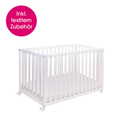 pink or blue Beistell - und Kinderbett LEONARDO 60 x 120 cm weiß