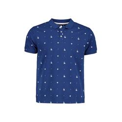 Lavard Blaues Polohemd mit Pflanzenmotiv 73871  S