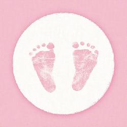 Ambiente Papierserviette Babyfüße Rosa, (5 St), 33 cm x 33 cm