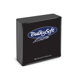 BulkySoft® Servietten LUXE, 1/4 falz, 3-lagig, Sehr saugfähige, vollflächig geprägte Serviette aus 100% Zellstoff, 1 Karton = 16 x 40 Servietten, Farbe: schwarz