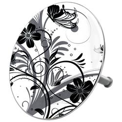 Sanilo Badewannenstöpsel Black Flower, für Badewannen und Duschen, Ø 7,2 cm