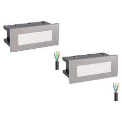 LED Treppen-Licht Treppen-Leuchte, eckig, 12,3x5,3cm, 230V, warm-weiß, 2 Stk.