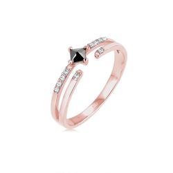 Elli Fingerring Modern Zirkonia Kristalle 925 Silber, Kristall Ring rosa 56