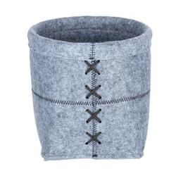 WENKO Mara Filz Aufbewahrungskorb, Aufbewahrungsbox für das Bad und den gesamten Haushalt, Maße (B/T x H): Ø 20 x 15 cm, L, hellgrau