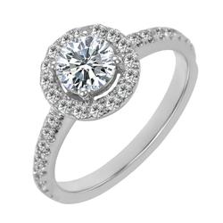 Verlobungsring aus Gold mit Diamanten im Halo-Stil Kerau