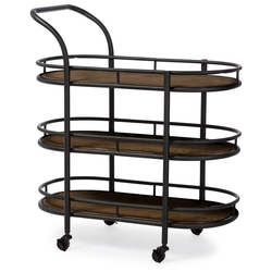 Karlin Rustic Industrial Style Antique Black Textured Finish Metal Distressed Wood Mobile Kitchen Bar Serving Wine Cart - Baxton Studio