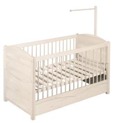 BioKinder - Das gesunde Kinderzimmer Babybett Luca, 70x140 cm mit Himmelstange weiß