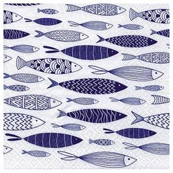 Linoows Papierserviette 20 Servietten Maritime Symbole, Schwarm blauer, Motiv Maritime Symbole, Schwarm blauer Fische
