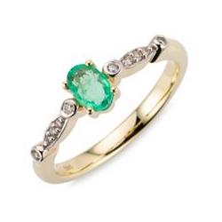ROYELLE Kolumbianischer Smaragd ca. 0,33ct Ring Gold 585