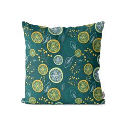 Kissenbezug, VOID (1 Stück), Zitronenblätter Früchte Kissenbezug Lemon Lime Zitrone Limette Vitamine Saft 60 cm x 60 cm
