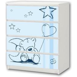 STIKKIPIX Möbelfolie M4K18, Teddy blau Möbelsticker/Aufkleber - passend für die Kommode mit 4 Fächern/Schubladen MALM von IKEA - Bestehend aus 4 passgenauen Kinderzimmer Möbelfolien (Möbel Nicht inklusive)