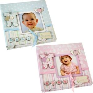 DRW 2er Set Kinderalbum Pappkarton für 40 Fotos 10x15 cm in rosa und blau 16,5 x 16,5 x 3 cm