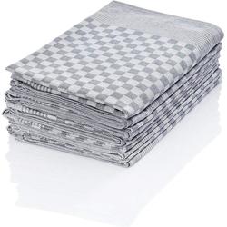 Hometex Premium Textiles Geschirrtuch, (10er Set Geschirrtuch Grubentuch, 100% Baumwolle Zwirn, Sehr saugfähig - Premium Qualität) grau