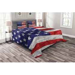 Tagesdecke Set mit Kissenbezügen Waschbar, Abakuhaus, Patriotisch America Patriotic Day 264 cm x 220 cm