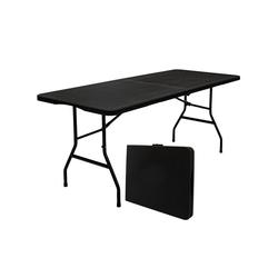 AMANKA Klapptisch Gartentisch für 6 Personen Klapptisch Rattan-Look, 180 x 74 cm Klappbar Schwarz