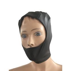 Leder Kopfmaske schwarz und halb offen