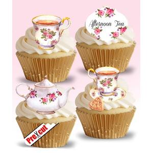 Cupcake-Dekoration zum Aufstecken, vorgeschnitten, Vintage-Motive Tea Time (in englischer Sprache), auf essbarem Reispapier