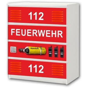 STIKKIPIX Feuerwehr Möbelsticker/Aufkleber - M4K20 - passend für die Kommode mit 4 Fächern/Schubladen MALM von IKEA - Bestehend aus 4 passgenauen Kinderzimmer Möbelfolien (Möbel Nicht inklusive)
