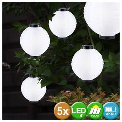 etc-shop Hängeleuchte, 5er Set Garten Solar Lampen LED Hänge Leuchten Lampion Außen Beleuchtung Laternen weiß