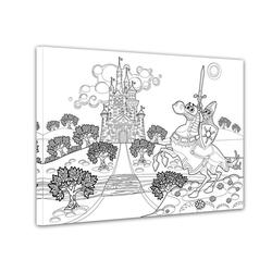 Bilderdepot24 Wandbild, Ritter vor einer Burg - Ausmalbild 80 cm x 60 cm