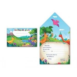 Arguval Einladungskarten mit Dinosauriern, 8 Stück