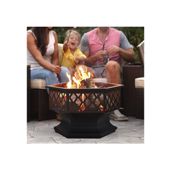 Masbekte Feuerschale, Feuerschale mit Funkenschutz, 3in1 Multifunktional Fire Pit für BBQ, Heizung, Garten Terrasse, Metall Feuerkorb mit Schürhaken