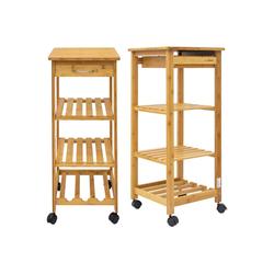 DuneDesign Küchenwagen Bambus Küchenwagen Servierwagen Holz Rollregal, 37x37x85 cm Küchenregal Holz