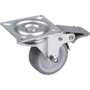 Metafranc Lenkrolle Ø 50 mm - Feststeller - 60 x 60 mm Platte - Polyurethan-Rad - Weiche Lauffläche - Gleitlager - 65 kg Tragkraft / Transportrolle / Möbelrolle / Schwerlastrolle / 802880
