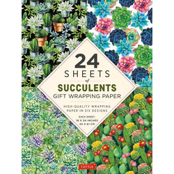 24 Sheets of Succulents Gift Wrapping Paper: High-Quality 18 X 24 (45 X 61 CM) Wrapping Paper
