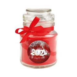 HS Candle Duftkerze (1-tlg), Frohes Neues Jahr - Kerze im Bonbon Glas, Kerze mit Neujahr - Motiv, vers. Düfte / Größen rot Ø 7 cm x 10 cm